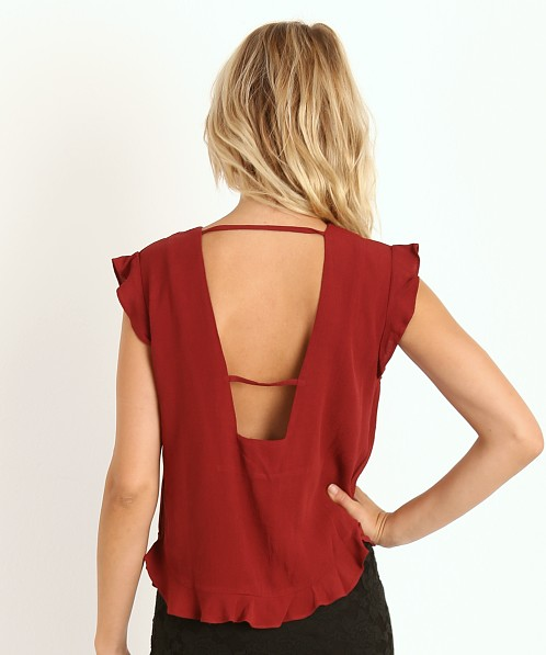 Line & Dot Just a Girl Top Maroon