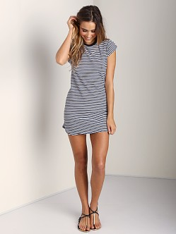 291 Venice Short Dress with Knot Back Navy Stripe
