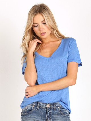 Splendid Slub Jersey V Neck Dolman Tee Nautical Blue