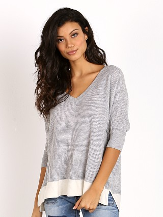 Splendid Cruz Colorblock Sweater Light Grey with Natural