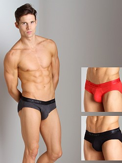 2xist 3-Pack No-Show Briefs Black/Charcoal/Red