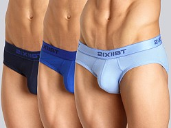 2xist 3-Pack No-Show Briefs Navy/Cobalt/Porcelain