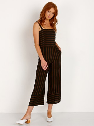 Model in mazur stripe - espresso Faithfull the Brand Guanabo Jumpsuit Espresso Mazur Stripe