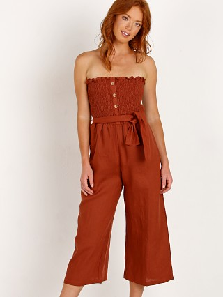 Model in plain sangria Faithfull the Brand Lais Jumpsuit