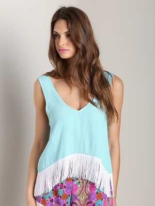 Model in mermaid blue Show Me Your Mumu Foxy Fringe Tank