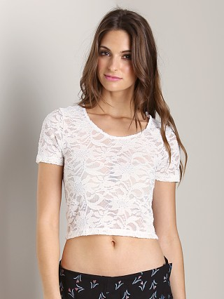 Model in lace pearl Show Me Your Mumu Blaze Tee Stretch