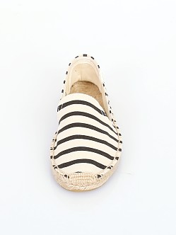 Soludos Classic Stripe Smoking Slipper Black/Natural