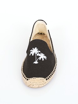 Soludos Smoking Slipper Palm Tree Embroidery Black