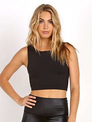 Indah Sorbet High Neck Open Back Top Tech Black