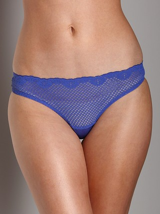 Model in electric blue Timpa Duet Lace Low Rise Thong