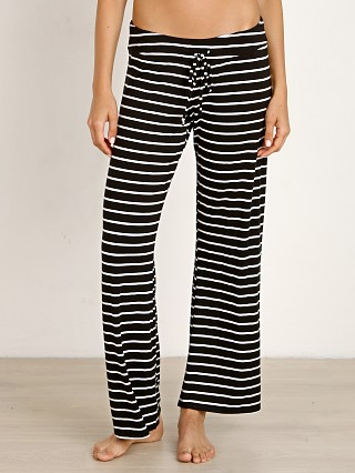 Eberjey Lounge Stripe Wide Leg Pant Black/Ivory