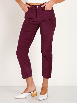 Model in potent purple cord Levi's Wedgie Straight Leg Cord