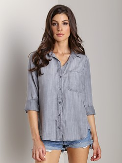 Bella Dahl Shirt Tail Button Down Medium Grey