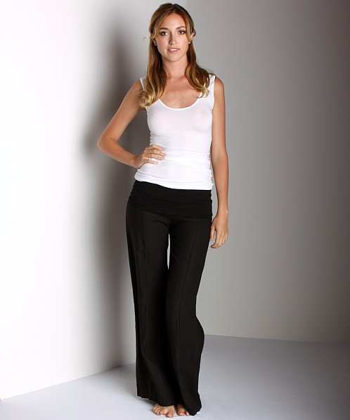 Fresh Laundry Fold Over Linen Pant Black