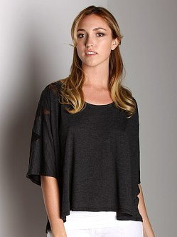 Fresh Laundry Mesh Shoulder Top Black