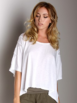 Fresh Laundry Mesh Shoulder Top White