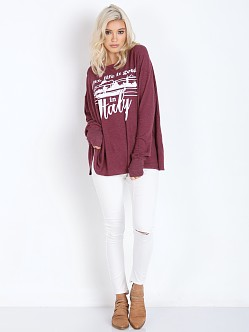 WILDFOX Italy Life Effortless Tee Bordeaux