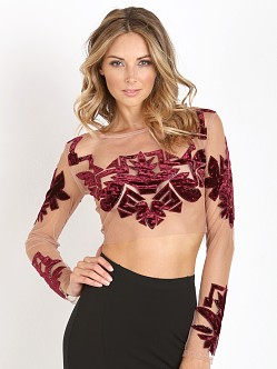 For Love & Lemons Vienna Crop Top Burgundy
