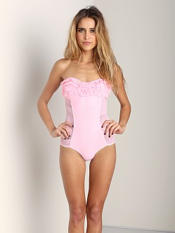 Juicy Couture Prima Donna Ruffle Bandeau Maillot Pink Lady