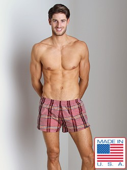 Sauvage Sun Plaid Swim Trunk Red