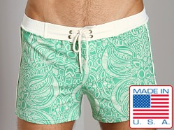 Sauvage Vintage Bali Swim Trunk Green