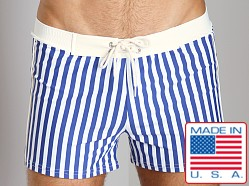Sauvage St. Tropex Striped Swim Trunk Royal/White