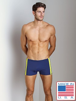 Sauvage Sidestripe Surf-Style Square Cut Navy/Yellow