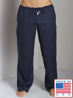Sauvage 100% Laundered Linen Tropical Pant Navy