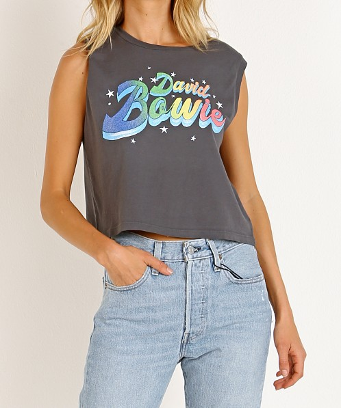 Daydreamer David Bowie Crop Tank Stone Grey