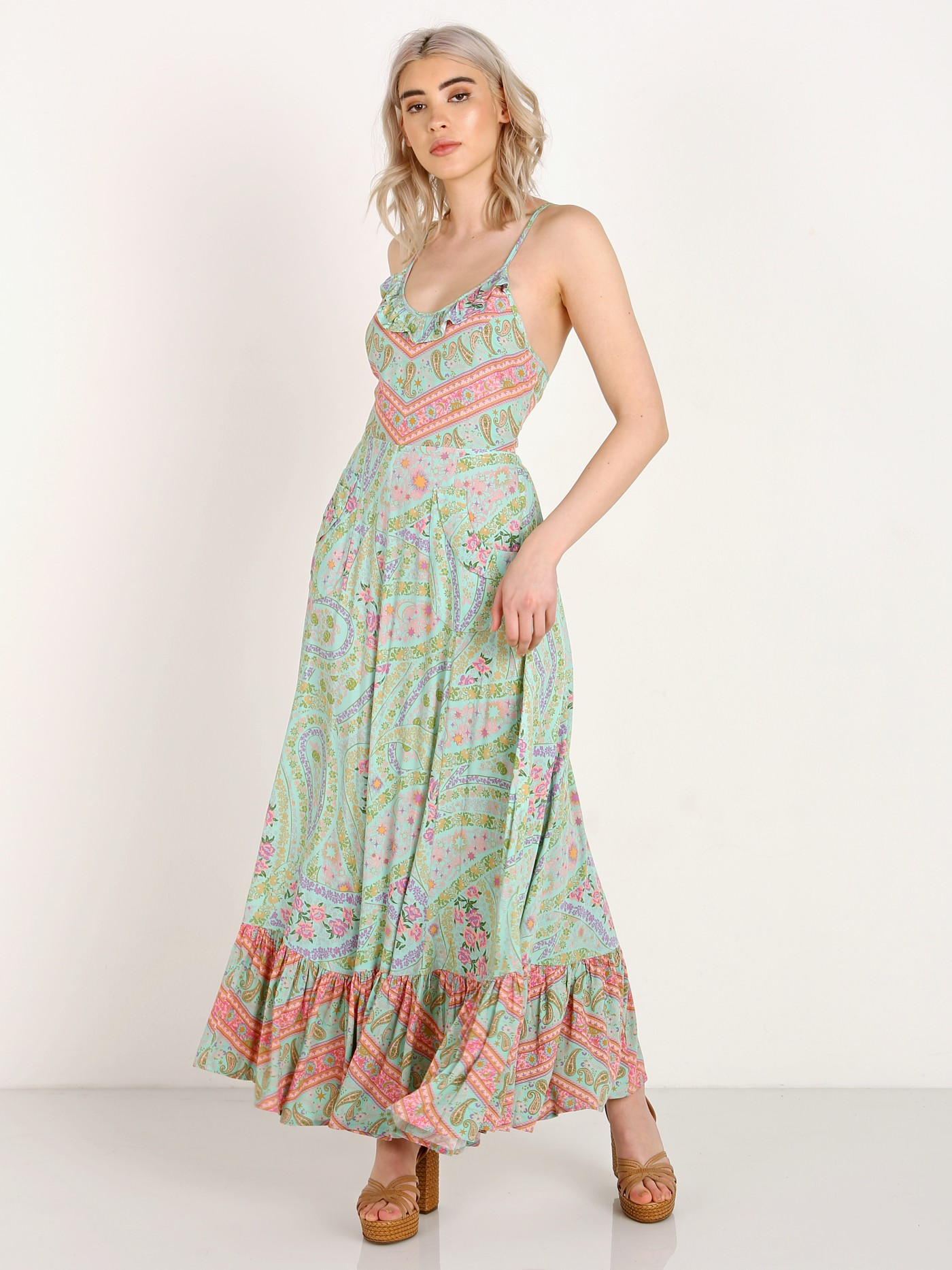 Spell & The Gypsy City Lights Strappy Maxi Dress Sage 181112H51 ...