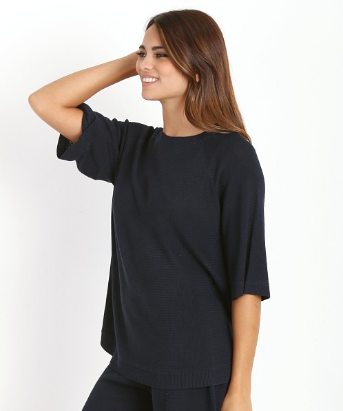Lonely Silk Knit Tee Navy