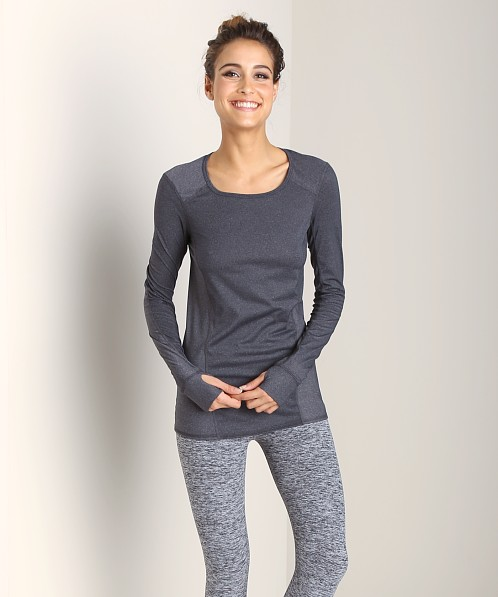 Beyond Yoga Long Sleeve Neck Run Top Heather Grey
