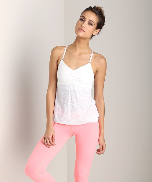 Beyond Yoga Low Back Cami White Heather Grey Stripe