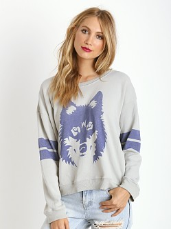 WILDFOX Vintage Wolf Oversized Sweatshirt Morning Mist