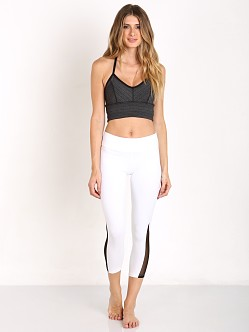Beyond Yoga T Back Bralette Black/Heather Gray Stripe