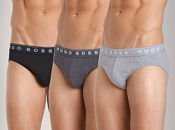 Hugo Boss Pure Cotton Hip Brief 3 Pack Charcoal/Black/Grey