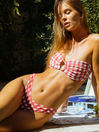 Montce Tori Bandeau Bikini Top Red Gingham