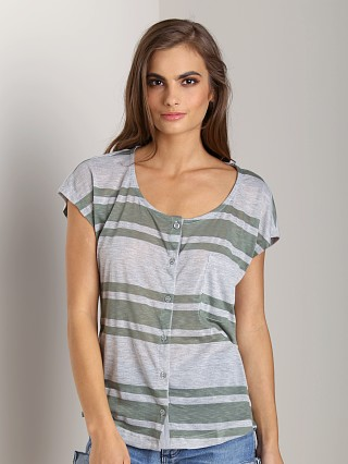 Splendid Grecian Stripe Button T-Shirt Camo Green