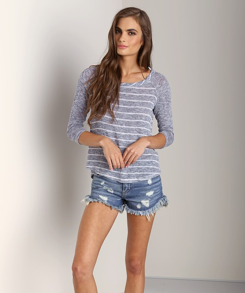 Splendid Caspian Loose Knit Long Sleeve Navy