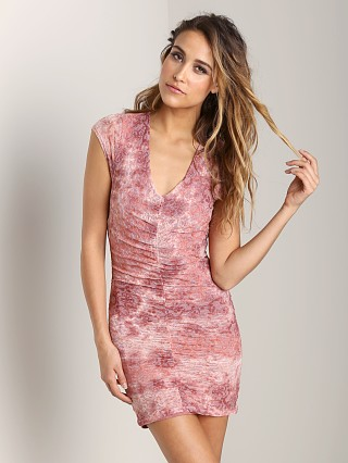Nightcap Ruched Rosette Dress Dusty Rose
