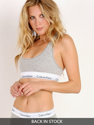 Model in heather grey Calvin Klein Modern Cotton Bralette