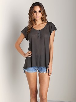 WILDFOX Counting Stars Blue Lagoon Henley Dirty Black