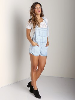Jen's Pirate Booty Oleander Cut Off Overalls Worn Out Blue