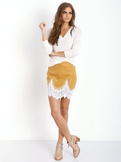 For Love & Lemons Giddy Up Suede Skirt Camel