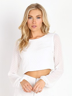 For Love & Lemons California Pearl Crop Top White