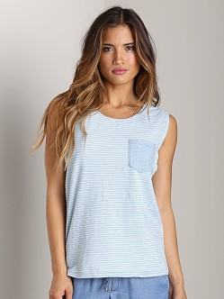 Splendid Indigo Rolled Sleeve Muscle Tank Stripe Light Wash