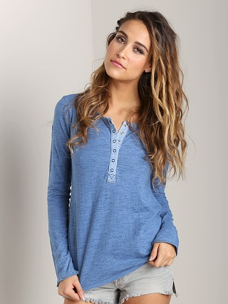 Splendid Long Sleeve Henley Medium Wash