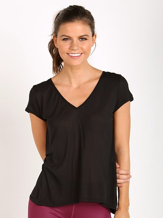alo Raw Short Sleeve Top Black