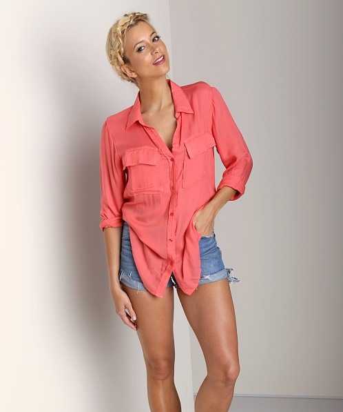 Bella Dahl Patch Pocket Button Down Shirt Hot Coral