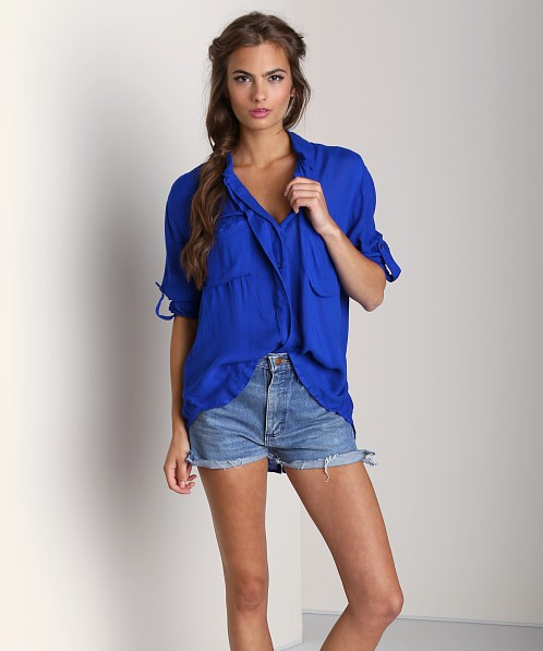 Bella Dahl Patch Pocket Split Back Button Cobalt